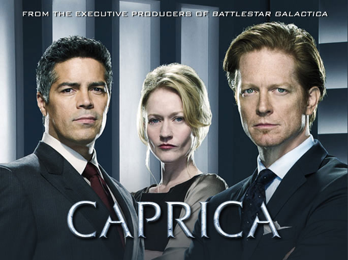 SYFY Battlestar Galactica when Caprica mythology cylon race virtual worlds technology corruption betrayal war claustrophobic SF fans storyline Eric Stoltz Daniel Graystone Esai Morales Joseph Adama pay live Matrix MMORPG audience continued TV series