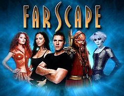 series Farscape SF TV series John Crichton Ben Browder and Aeryn Sun Claudia Black characters Leviathan Luxan warrior Ka DArgo blue Pau Zotoh Zhaan Dominar Rygel alien society Hallmark Entertainment Nine Network and Jim Hensons Creature Shop Doctor Dolittle The Hitchhikers Guide to the Galaxy Babe Scorpius Looney Tunes cartoon comedy Sci Fi Peacekeeper Wars miniseries story